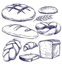 bakery set hand drawn llustration sketch vector image vector image