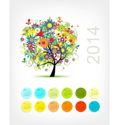 Calendar 2014 with four season tree for your vector image