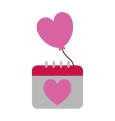 calendar balloon heart valentine day funny vector image