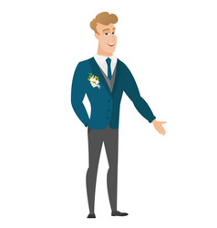 Caucasian groom with hand in his pocket vector