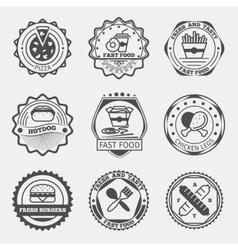 Fast food emblems logo or labels set vector image vector image