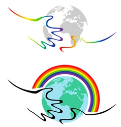 gay symbolism hands hold the earth vector image vector image