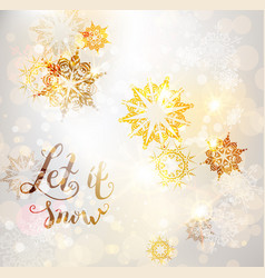 gold winter snowflakes vector image