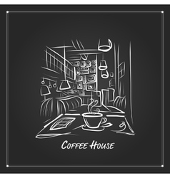 Morning coffee in cafe sketch for your design vector image