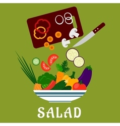 Salad with vegetables and chopping board vector image vector image