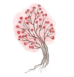 watercolor tree with hearts vector image vector image