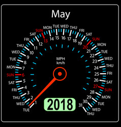 year 2018 calendar speedometer car in concept may vector image vector image