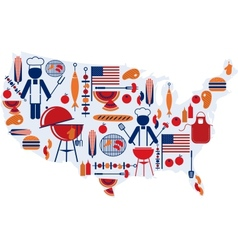 4th of July celebration Flag with barbecue icons vector image vector image
