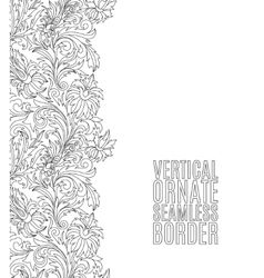 Card with seamless floral border Doodle style vector image vector image