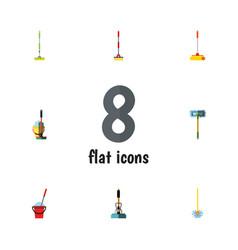 flat icon broomstick set of equipment bucket mop vector image