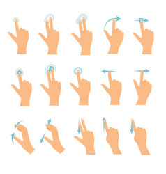 hand icons showing commonly used multi-touch vector image