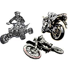 motorcycle trio vector image vector image