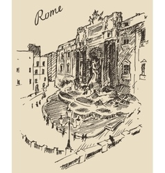 Rome Landmark in Italy engraved hand drawn vector image vector image