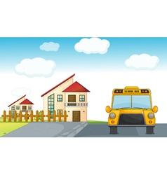 a school bus and building vector image vector image