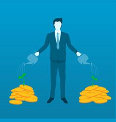 businessman watering money tree to grow finance vector image vector image