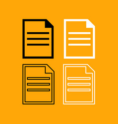 document set black and white icon vector image vector image