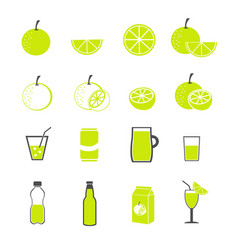 lemon and juice icons set vector image vector image