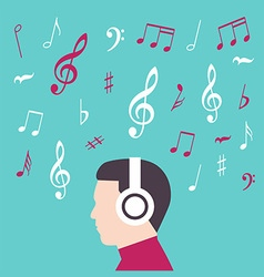 Man profile with headphone music vector image