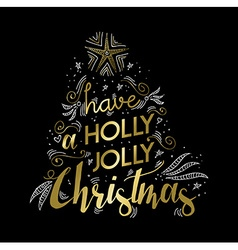 Merry Christmas gold greeting card doodle design vector image