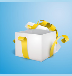 white open 3d empty gift box with yellow ribbon vector image