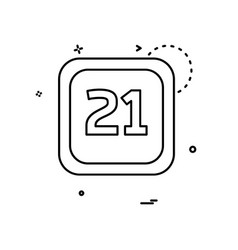 21 date calender icon design vector image