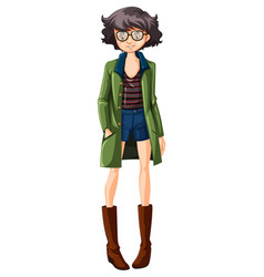 a hipster girl character vector image