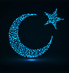 Abstract crescent moon and star of particles vector
