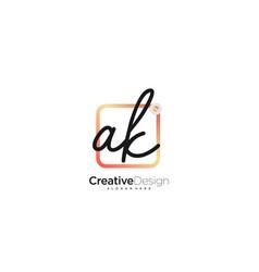Ak initial letter handwriting logo art hand drawn vector