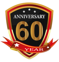 Anniversary 60 th label with ribbon vector