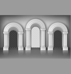 Arches with white columns in wall interior gates vector