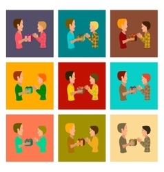 Assembly flat friends gift vector
