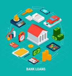 bank loans round composition vector image