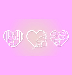 Beautiful paper cutting monogram love collection vector