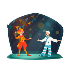 Big top circus clown performer characters on stage vector