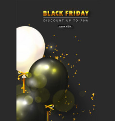 black friday sale background with black and white vector image