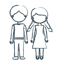 Blurred blue contour faceless couple boy with vector