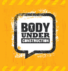 Body under construction workout and fitness gym vector
