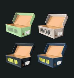 Box of sneakers in set on dark vector