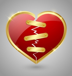 Broken and repaired heart icon vector