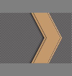 Brown leather arrow on gray weave vector