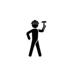 builder in a helmet with a hammer icon vector image