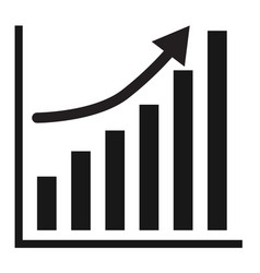 business graph growth progress black arrow vector image