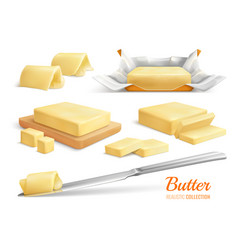 butter realistic set vector image