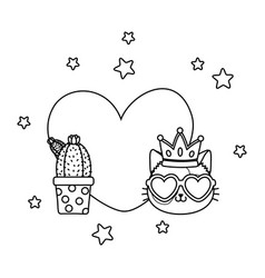 cactus and cat with heart black and white vector image