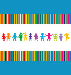 cartoon colored children on stripped background vector image