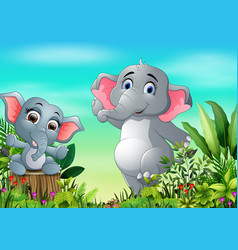 cartoon happy mother and baby elephant in the park vector image