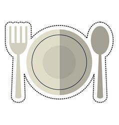 Cartoon plate spoon fork utensils vector
