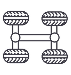 Chassis four wheels line icon sign vector