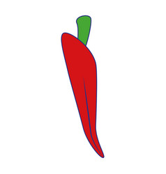 Chilly spicy vegetable isolated symbol blue lines vector