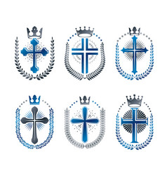 Christian crosses emblems set heraldic design vector